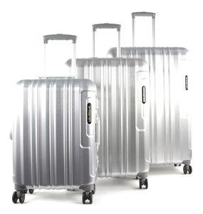 March Kofferset Cosmopolitan Platinum 3-tlg. Silver-Brushed-Alu-Look Koffer mit 4 Rollen Kofferset