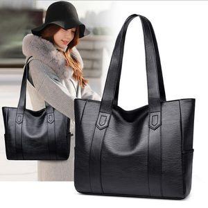 Damentasche Soft Kunstleder Shopper Bag Handtasche Umhängetasche Tragetasche Schultertasche Schwarz