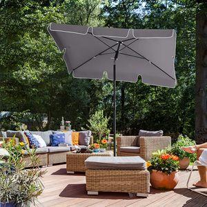 Sonnenschirm rechteckig| sonnenschirm balkon | Garten Sonnenschirm,180 x 125 cm, UV50+, knickbar, mit PA-Beschichtung,grau
