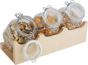 Buffetständer GOOD MORNING Holzgestell mit 3 Gläsern und luftdichtem Klappdeckel Kapazität: 3 x 2 Liter BxTxH: 43 x 17 x 13,5 cm