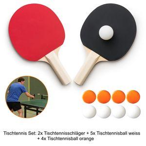 Tischtennis Set 11-teilig: 2 Tischtennisschläger und 9 Tischtennisbälle