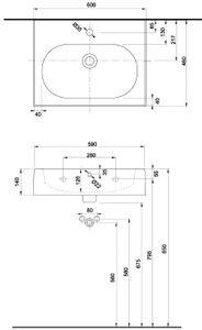 Ceravid Vienta Waschbecken Aufsatzwaschbecken 60x46cm, C24460000