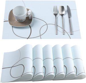 VEWEET PVC Platzset, Serie Nikita, 6-teilig Set Tischset, 45 x 30 cm Platzdeckchen, Tischmatte