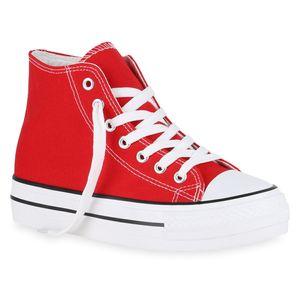 Mytrendshoe Damen Sneaker High Basic Canvas Turnschuhe Schnürer Freizeitschuhe 825899, Farbe: Rot, Größe: 38