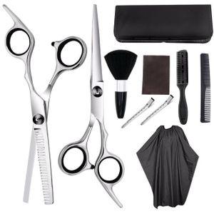 Haarschere Set friseurschere ausdünnen Haarschnitt Modellierschere mit friseurumhang, Kämme Clips, schwarzer case, verbessertes Haarschnitt-Set