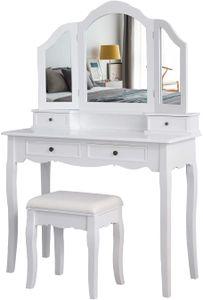 Meerveil Schminktisch mit Hocker, Frisierkommode Frisiertisch mit 3 Spiegel, 4 Schubladen, Kosmetiktisch, rutschfeste Aufkleber, Weiß