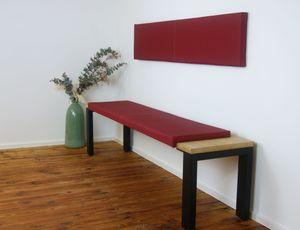 L Klemm-Kissen / Sitz-Kissen 115cm breit weich gepolstert - verrutscht nicht - viele Farben, Farbe:rot