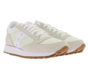 Saucony Jazz Original Vintage Sneaker bequeme Damen Turn-Schuhe Retro-Sneaker Beige/Weiß, Größe:37 1/2