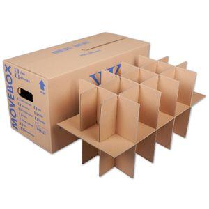 5 Stück Gläserkartons Geschirr Flaschen Umzugskartons mit 15-30 Fächern (2-wellig)