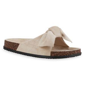 Giralin Damen Sandalen Pantoletten Bequeme Schleifen Schuhe 836675, Farbe: Beige, Größe: 40