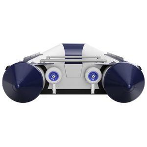 Slipräder, Heckräder, Transporträder für Schlauchboot, mit Ein-Hand Bedienfunktion, SUPROD HD200, Edelstahl V4A, grau/blau