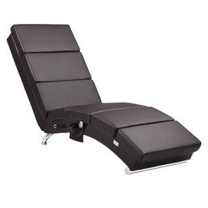 Casaria Relax Stuhl London mit Heizung und Massagefunktion Stoff / Kunstleder ergonomischer Wohnzimmer Liegestuhl Liegestuhl, Farbe:Kunstleder dunkelbraun