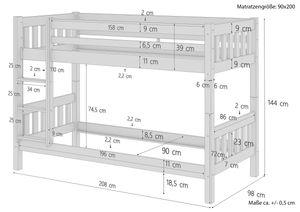 Etagenbett Kiefer waschweiß 90x200 mit Rollrost Bettkasten Kinderstockbett Hohes Bett 60.10-09WS1