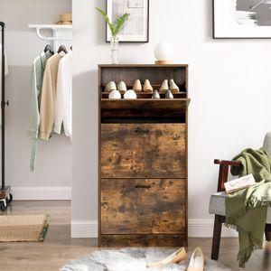 VASAGLE Schuhschrank mit 3 Klappen für ca.18 paar Schuhe 120 x 60 x 24 cm Schuhkommode aus Holz verstellbare Schuhkipper vintagebraun LBC030X01