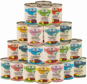 Landfleisch 24 x 400g Dosen Nassfutter - freie Auswahl aus 13 Sorten + Snack gratis!