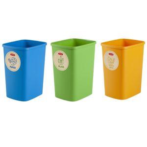 Eco Friendly 3er-Set Mülltrennungssystem 3x25L Mülleimer Mülltrennung Papier Glas und Kunststoff Recycling-Eimer aus Kunstoff