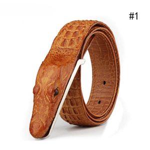 Gelb (A) zweistöckiges Leder Krokoprägung Ledergürtel für Männer Casual Ledergürtel Ledergürtel Großhandel