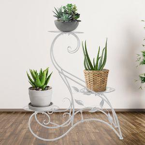 60*22*60cm Meco 3 Stufen Blumenständer Pflanzentreppe Blumenregal Metall Ständer Weiß