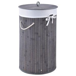 Juskys Bambus Wäschekorb Curly-Round – 55 Liter Volumen – Wäschesammler mit Deckel, Tragegriffen & Stoff Wäschesack – 1 Fach Wäschebox – in Grau
