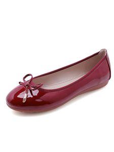 Damen Slip On Flats Schuhe Slipper Chunky Heels OL Kleid Party Schuhe Round Toe,Farbe: Rotwein  ,Größe:42