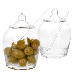 2x Oliven Glas Oliver + Deckel & Löffel Topf Pott Oliven-Dose Aufbewahrungsglas