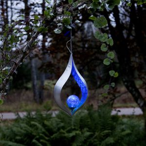 Star Trading LED Solar Deko Leuchte Melilla, Blattform, blau