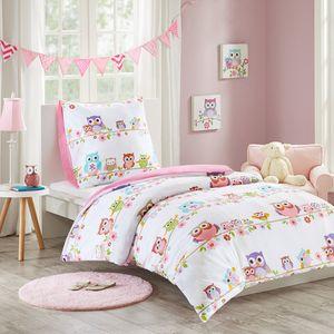 Kinder Bettwäsche 135x200cm Eule 100% Baumwolle Renforcé 2-teilig Bettbezug Kopfkissenbezug 80x80cm Mädchen Jugendliche Owl