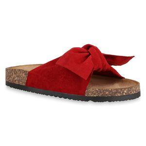 Mytrendshoe Damen Sandalen Pantoletten Hausschuhe Schleifen Schuhe 830663, Farbe: Rot, Größe: 38
