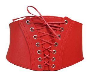 Damen Gürtel Breit Stretch Schnalle Taille Corset Taillengürtel Hüftgürtel Korsett Gothic, G16 Rot One-Size