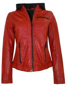 Gipsy - Damen Lederjacke Kapuze Lammnappa rot antik Pflanzlich gegerbt : XL