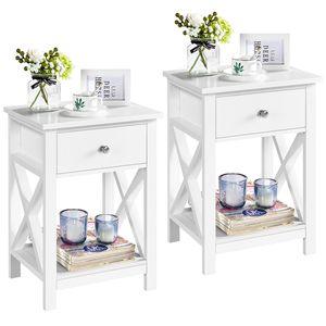 Yaheetech 2er Set Nachttisch, Beistelltisch-Set, Sofatische, kleine Couchtische mit Ablage, Wohnzimmer, Schlafzimmer, Flur, stabil, X-Form, Weiß, 40 x 30 x 55 cm
