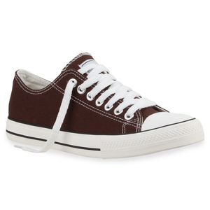 Mytrendshoe Herren Sneakers Sportschuhe Stoffschuhe Schnürer 892086, Farbe: Dunkelbraun Lucky, Größe: 44