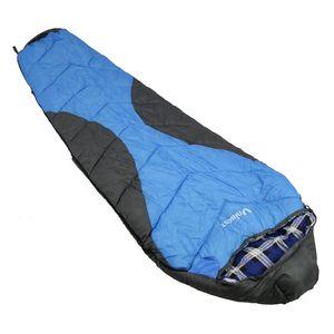Unibest Mumienschlafsack Baumwolle Innen XXL Reißverschluss links blau