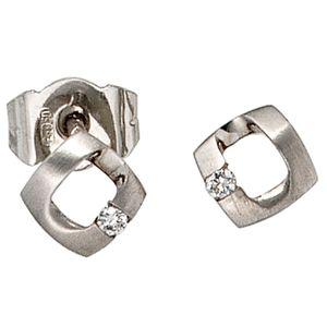 JOBO Ohrstecker 950 Platin teilmattiert 2 Diamanten Brillanten 0,03ct. Ohrringe