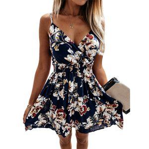 Damen Mini Sling V-Ausschnitt Ärmelloses Sommerkleid Hoher Gürtel Prinzessinnenkleid,Farbe: Schwarze Blume,Größe:XL