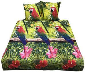 Bettwäsche 200x200 + 80x80 cm Baumwolle Renforce Grün Gelb Tropische Blumen mit Reißverschluss, 3-teilig