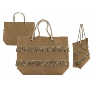 Out of the Blue Naturfarbener Shopper mit Fransen &