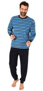 Edler Herren Frottee Pyjama Schlafanzug mit Bündchen - Streifenoptik - 291 101 13 134, Farbe:marine, Größe:50