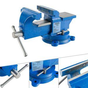 AREBOS 100 mm Werkstatt Schraubstock für Werkbank Drehteller Drehbar mit Amboss drehbar