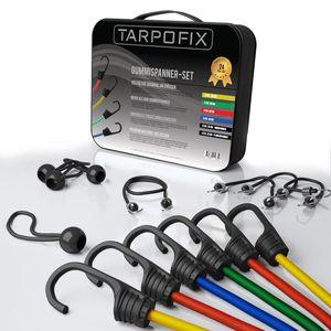 Tarpofix® 24-teiliges Gepäckspanner Gummispanner Set   Expander Haken Set für Fahrrad, Motorrad & Auto   Kunststoffummantelte Spanngummis 25-100 cm