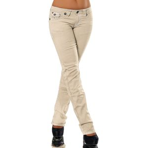 H922 Damen Bootcut Jeans Hose Damenjeans Hüftjeans Gerades Bein Dicke Naht Nähte, Größen:42 (XL), Farben:Beige
