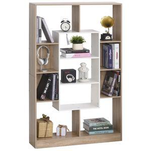 HOMCOM Bücherregal Standregal Büroregal Lagerregal Aktenregal für Büro Wohnzimmer Arbeitszimmer E1 Spanplatte Natur+Weiß 95 x 22 x 150 cm