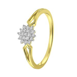 585 Gelbgold-Ring Entourage mit Diamant -  53