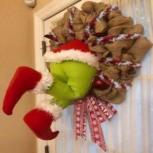Grinch Kranz, Weihnachtsgirlande, Wie der Grinch Weihnachten Sackleinen Kranz Dekorationen Super Süße und Schöne Tolle Geschenke für Freunde Girlande Kranz Weihnachten Gestohlen,30*40cm