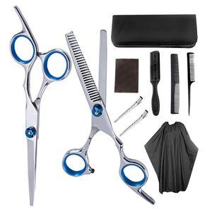 10 Stück 6\'\' Edelstahl Friseurschere Effilierschere mit Haarkamm, Haarclips und Friseurumhang für Salon oder Zuhause