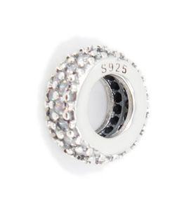 PANDACHARMS Weißes Pavé Zwischenelement Charm 925 Silber passt Pandora Moments