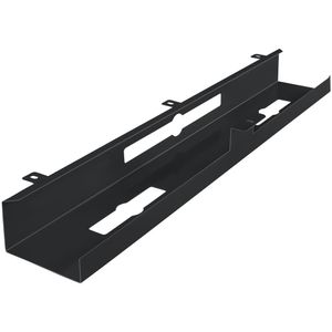AMSTYLE® Kabelkanal Schreibtisch 80x7x13 cm breit Untertisch Kabelführung schwarz | Kabelmanagement Kabelwanne Pulverbeschichtet | Kabelschacht waagrecht Metall