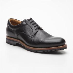Größe D 46 UK 11 Prime Shoes Moskau Schwarz Buffalo black Rahmengenäht Plain Derby edler klassischer Schnürschuh feinstes Kalbsleder
