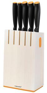 Fiskars FF Messerblock mit 5 Messern, weiß , 1014209