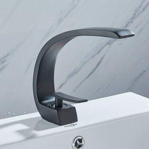 168x44x188mm Waschtischarmatur Wasserfall Wasserhahn Schwarz Bad Waschbecken Armatur Einhebel Mischbatterie Einhebelmischer Bad Spüle Armatur